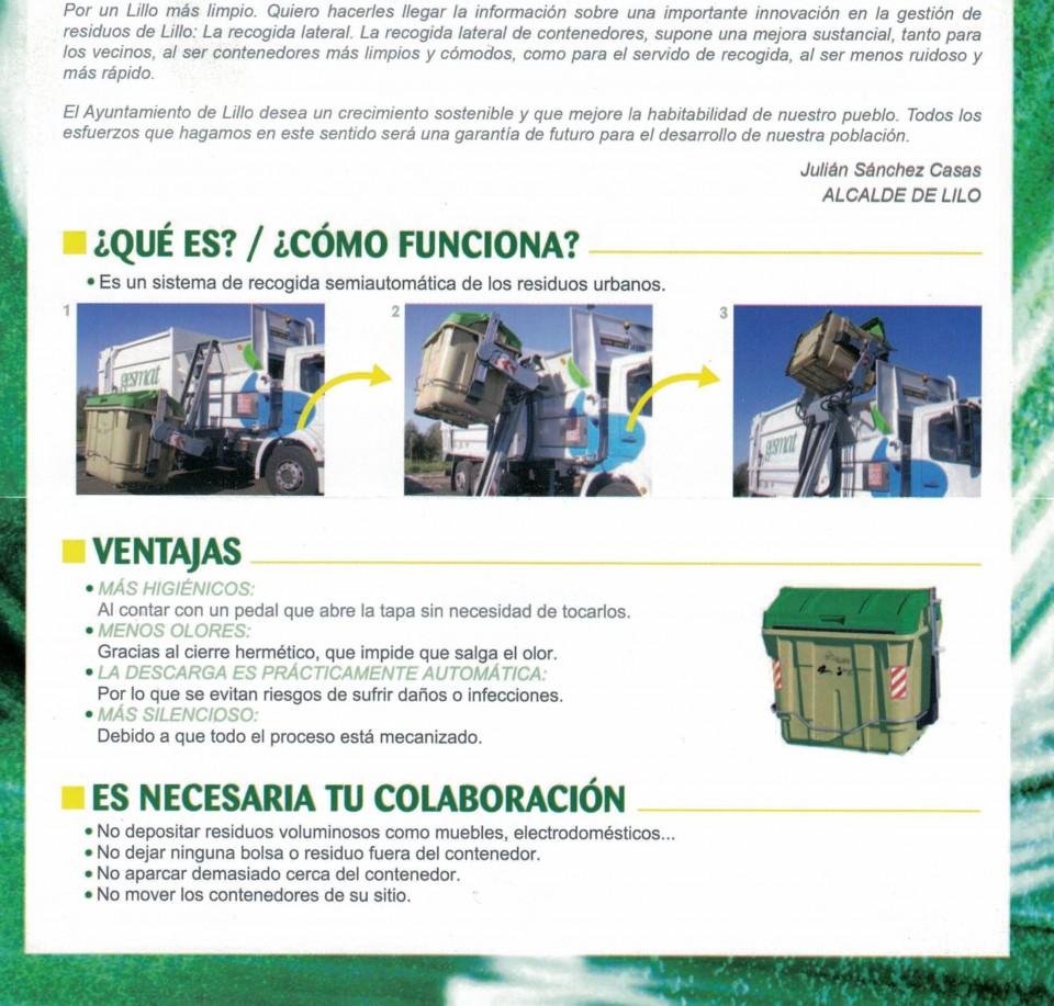 La recogida de residuos mediante CARGA LATERAL llega a Lillo