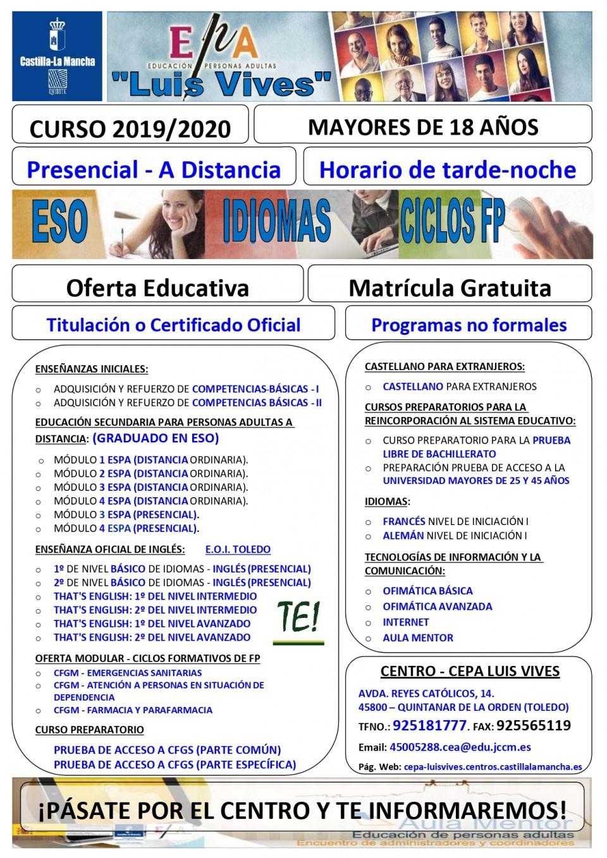 Oferta formativa CEPA Luis Vives de Quintanar de la Orden