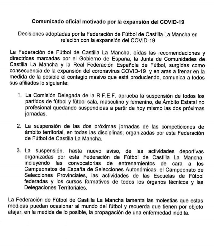 La Concejalía de Deportes del Ayuntamiento de Lillo informa